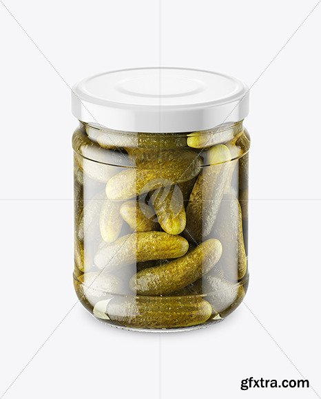 Clear Glass Jar with Pickled Cucumbers 46558