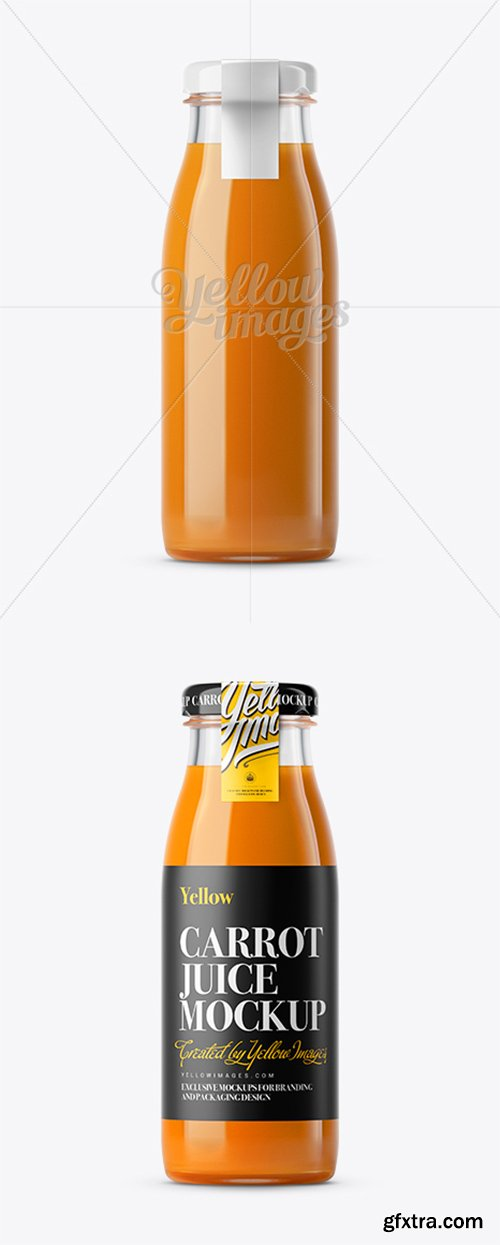 Carrot Juice Glass Bottle with a Tag Mockup 11815