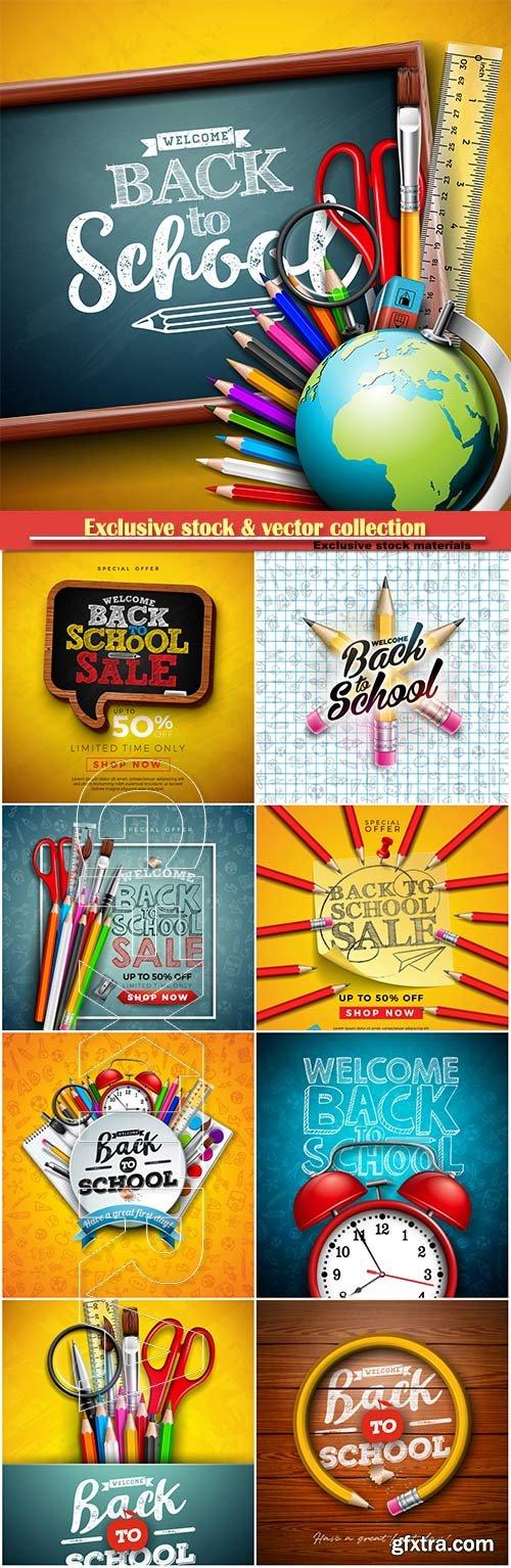 Back to school design vector, education concept illustration # 3