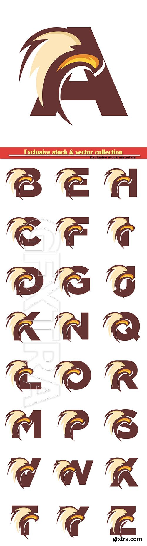 Eagle font vector alphabet illustration