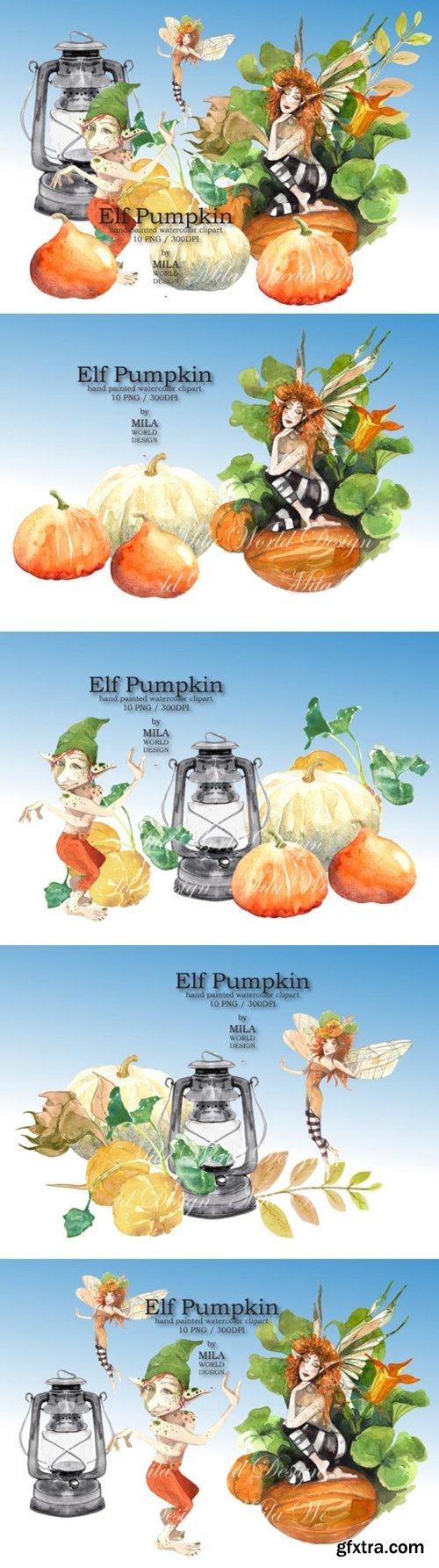 Elf Pumpkin Watercolor Clip Art 1629374