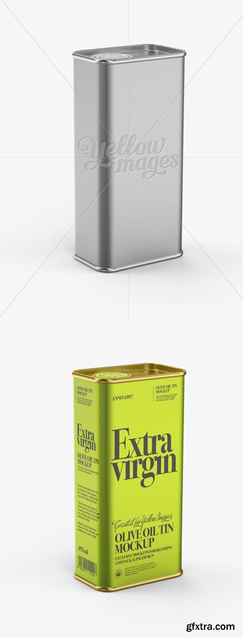 Olive Oil Tin Can Mockup - Half-Side View 12321