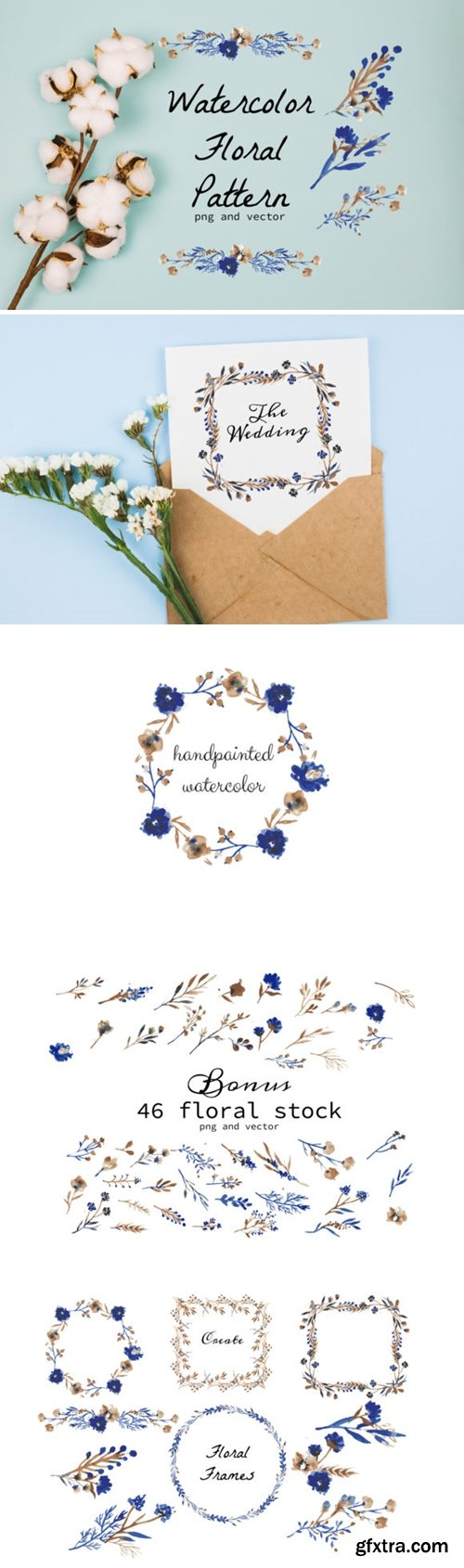 Watercolor Floral Wreath and Stock 1616484