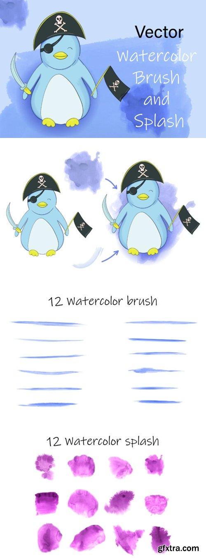 Vector Watercolor Brush and Splash 1615970