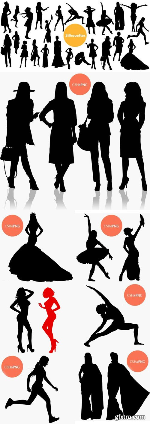 30 Woman Silhouette Photoshop Shapes