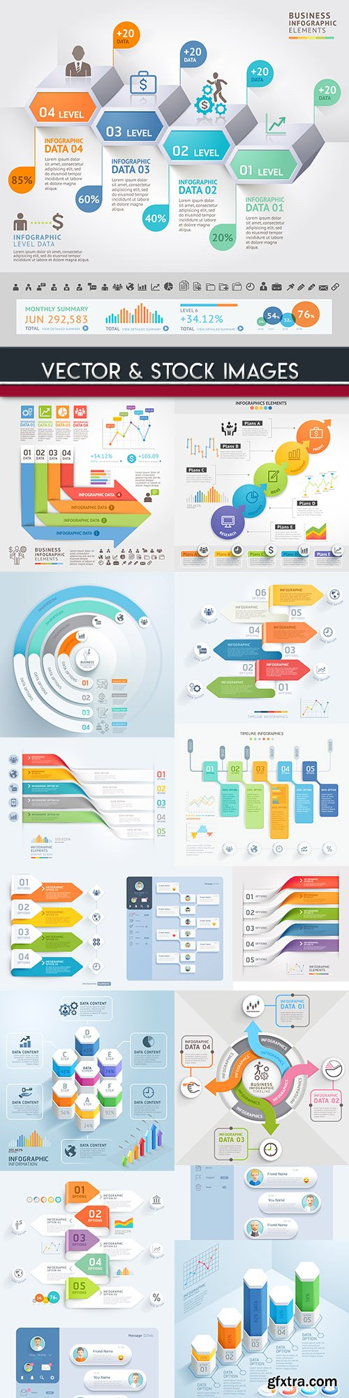 Business infographics options elements collection 78