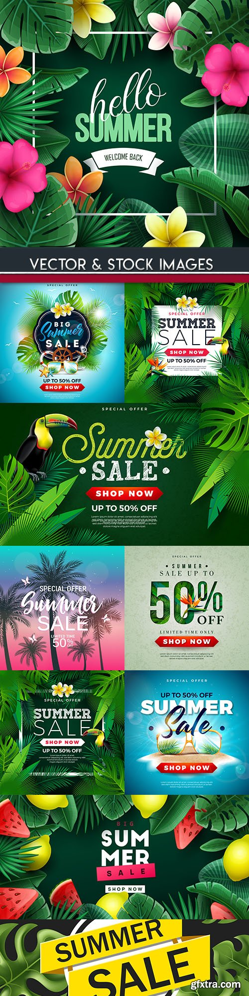 Summer sales special holiday banner illustrations 10