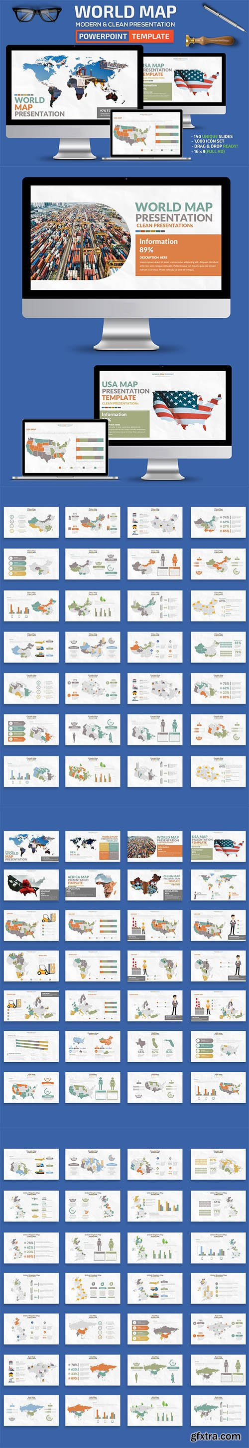 World Map Powerpoint and Keynote Template