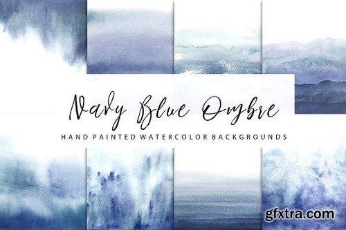 Navy Ombre Watercolor