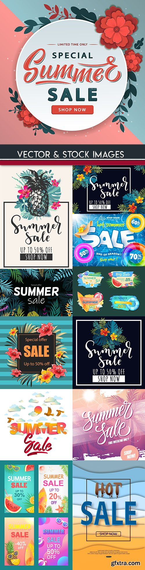 Summer sales special holiday banner illustrations 11