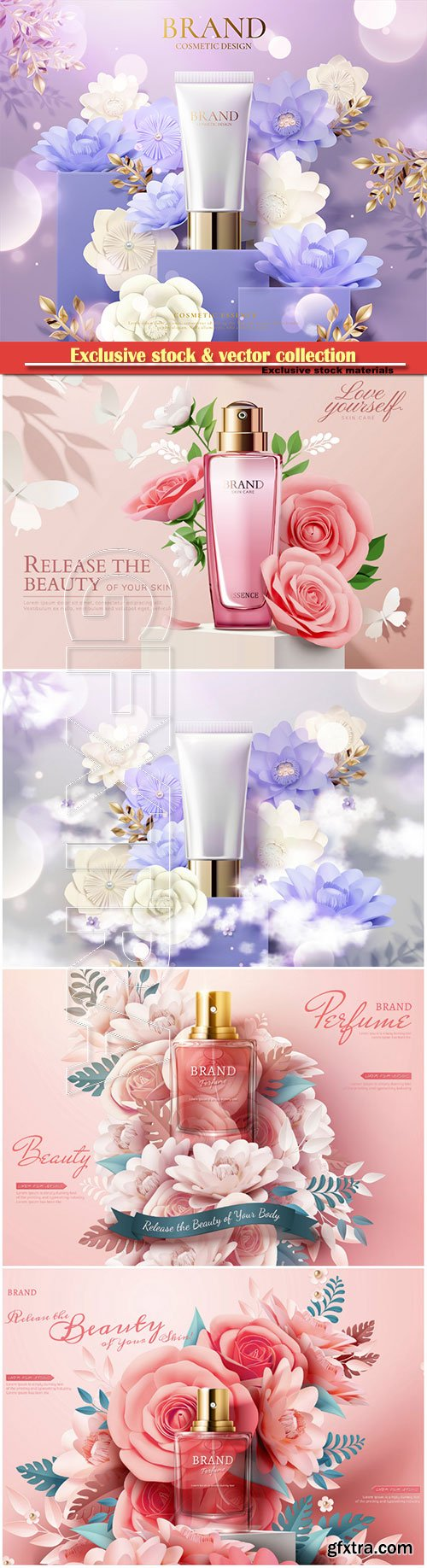Cosmetic set ads with paper flowers in 3d illustration # 4