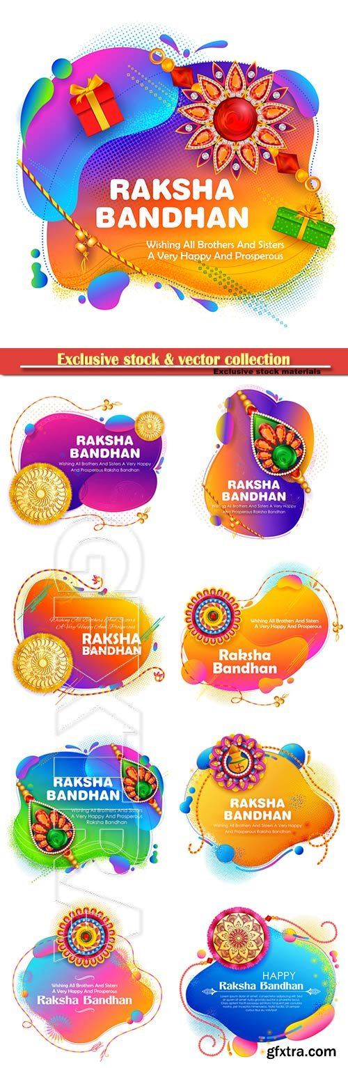 Greeting card and template banner for sales promotion advertisement with decorative Rakhi for Raksha Bandhan, Indian festival
