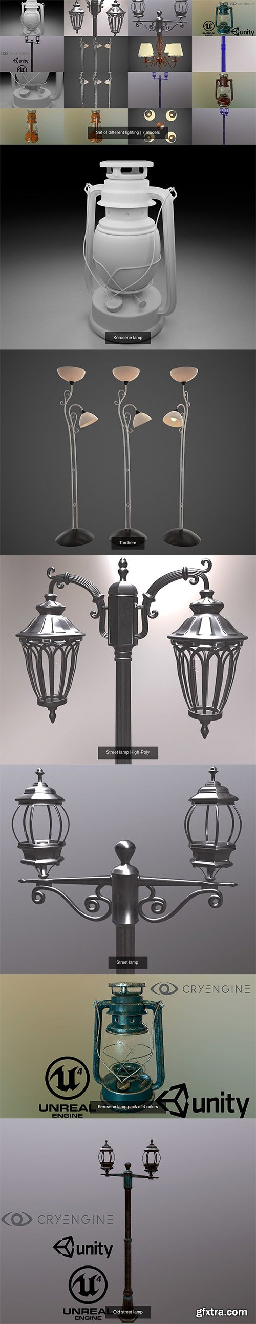 Cgtrader - Set of different lighting 3D Model Collection