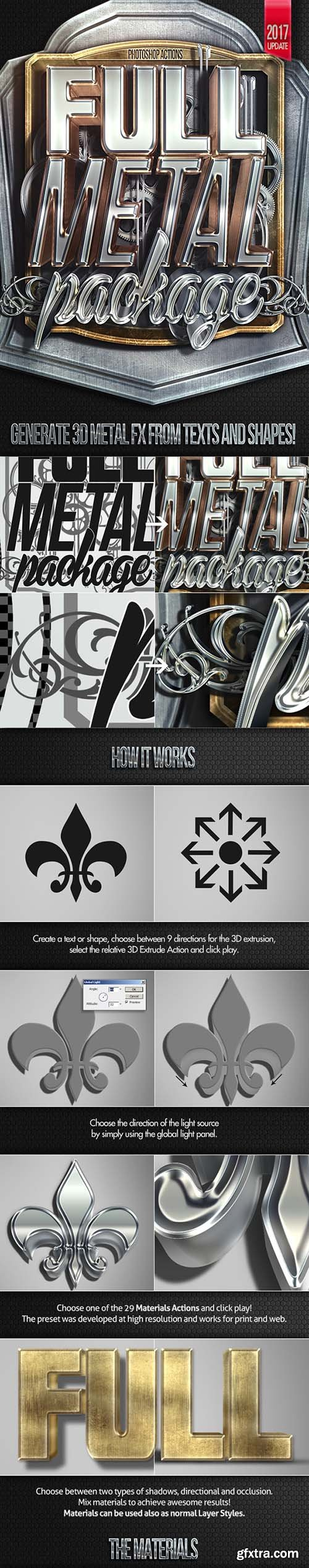 Graphicriver Full Metal Package 3D - Photoshop Actions 7947591