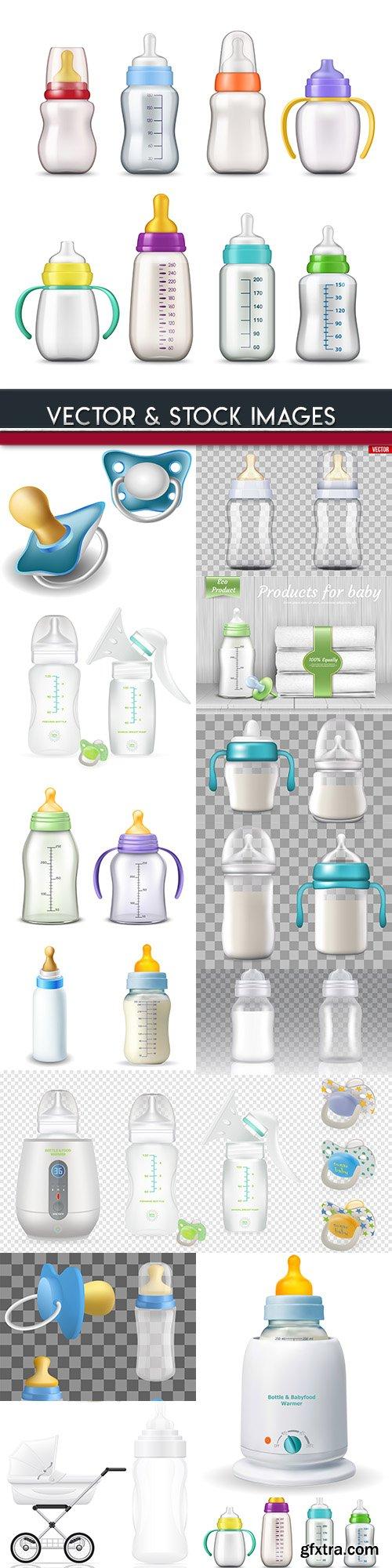Children's bottle for milk and nipple 3d mockup