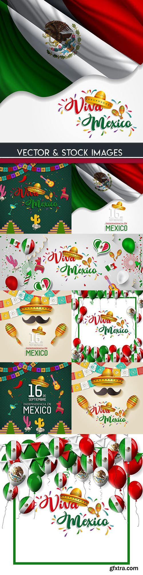 Mexico national day and Viva Mexico illustration design