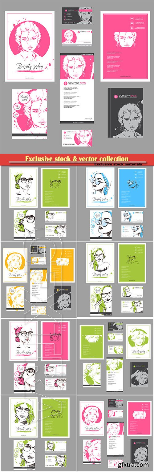 Template set booklet and cards vector