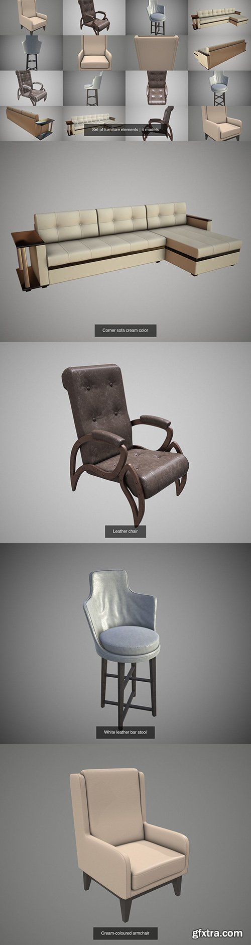 Cgtrader - Set of furniture elements 3D Model Collection