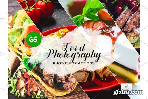 CreativeMarket - 65 Food Photography Photoshop Actions 3934691