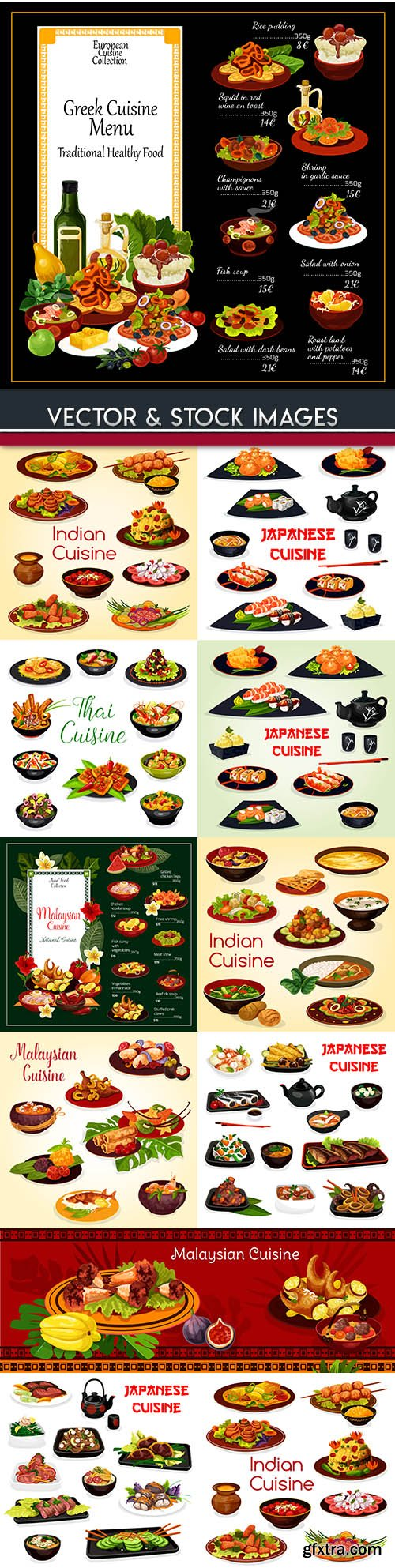 Asian cuisine and national dishes lunch and dinner