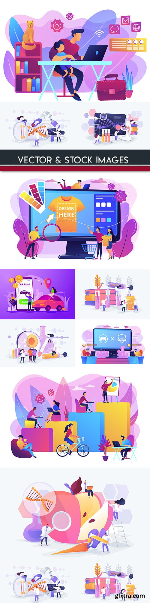 People business technology online graphic flat