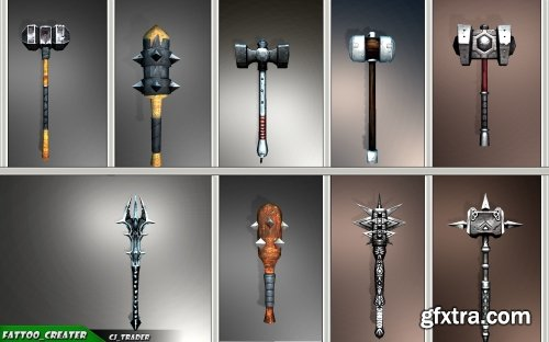 Cgtrader - Fantasy Mace - Hammer Collection Pack Low-Poly 3D Model