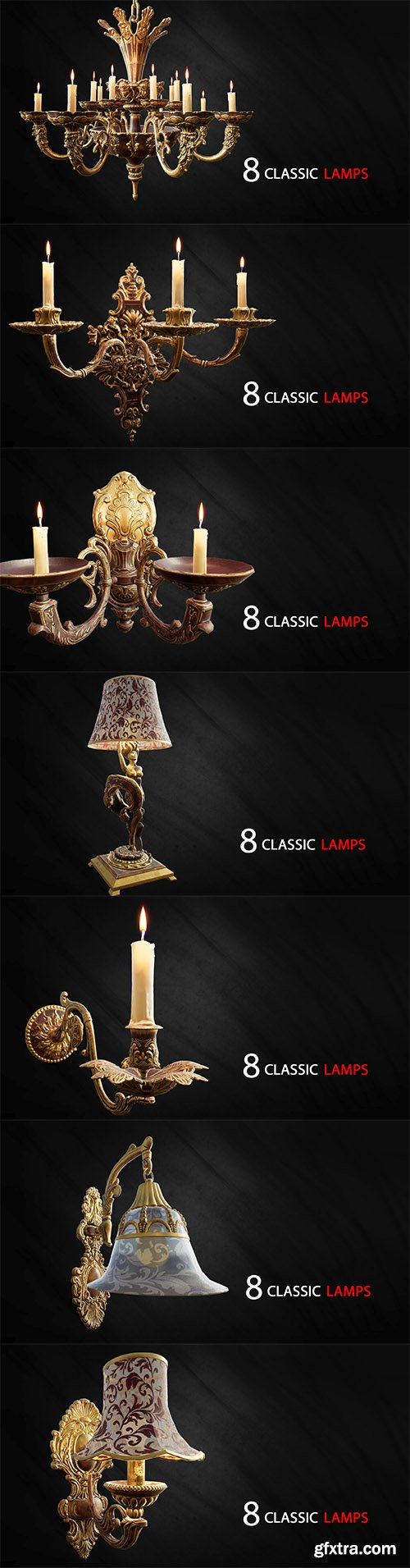 Cgtrader - 8 Classic Lamps Unreal 4 - UE4 Unreal Engine lamp Low-poly 3D model