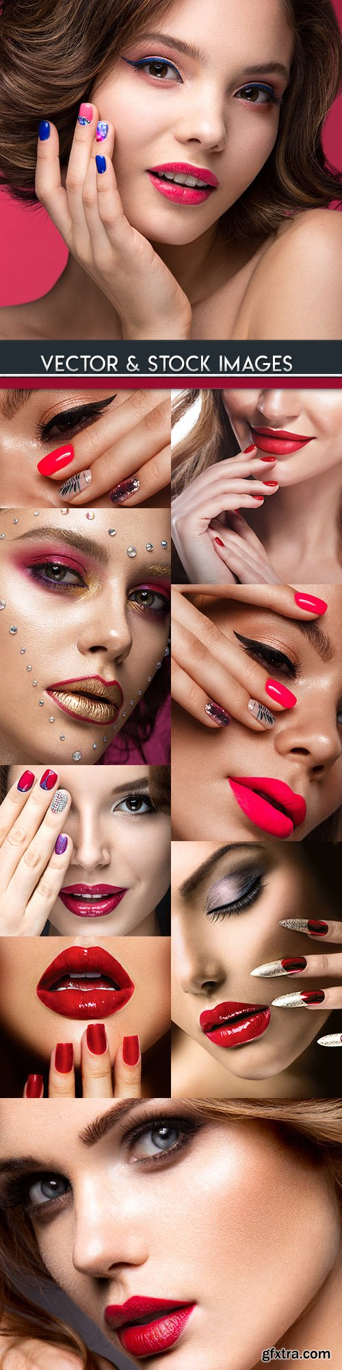 Beautiful girl with make-up hairstyle and manicure