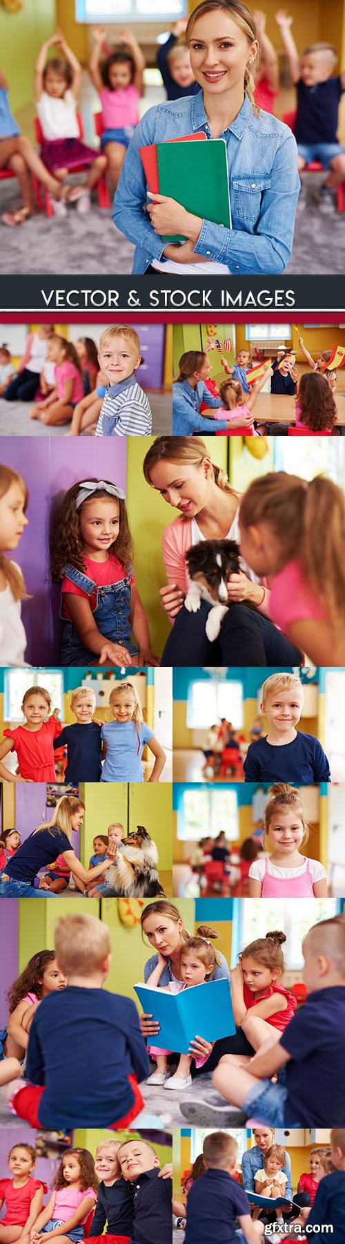 Preschool education children and teacher on occupation