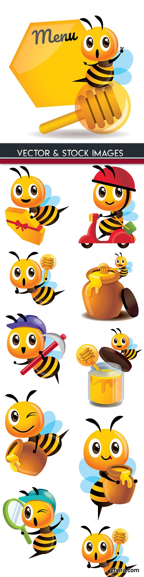 Amusing bee with honey cartoon an illustration