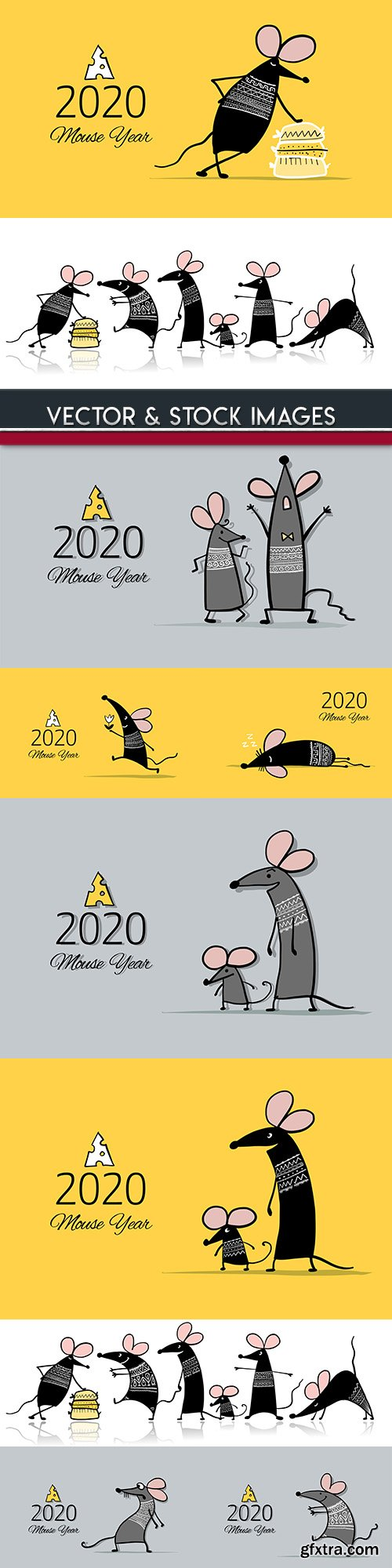 White rat symbol of New Year 2020 funny cartoon