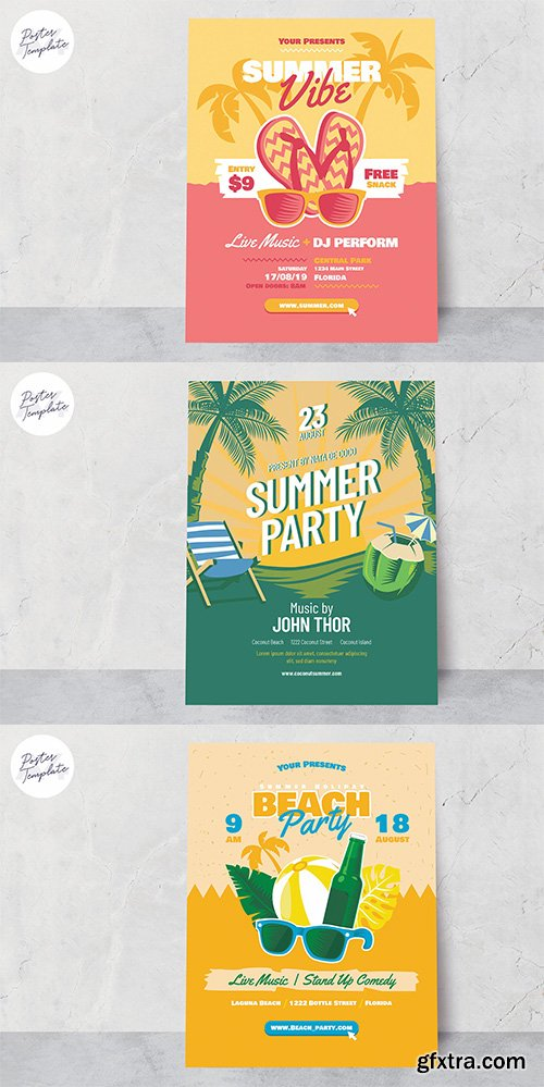 Summer Poster Template Set