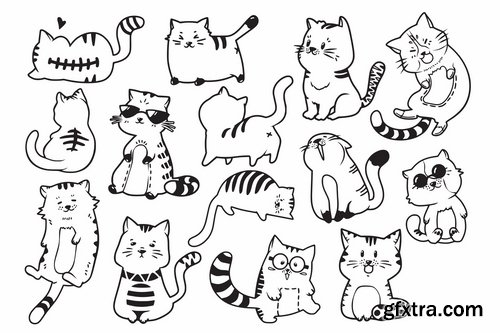 Cute and Funny Cats Doodle Vector
