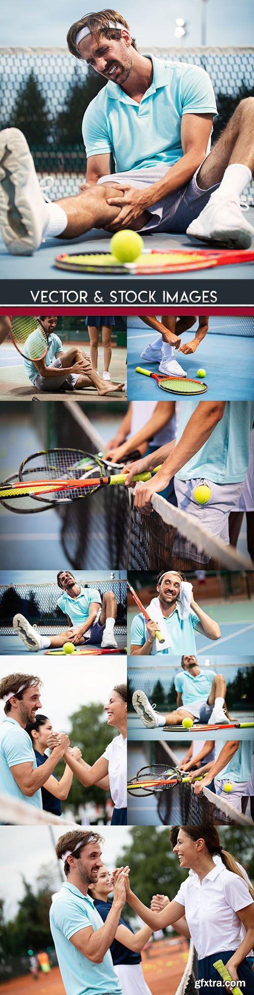 Tennis court competition and trauma at man