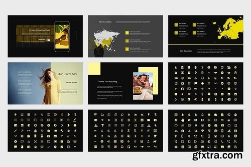 Domia Yellow Color Tone Pitch Deck Keynote