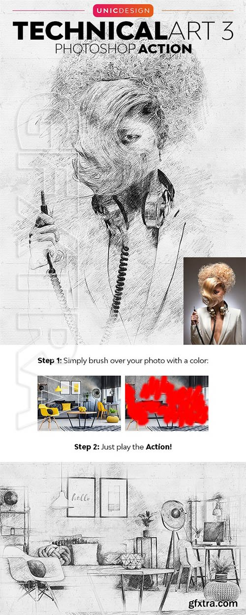 GraphicRiver - TechnicalArt 3 Photoshop Action 24222422