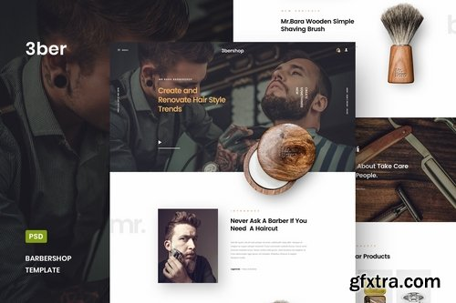 3bershop - Barbershop Website PSD Template
