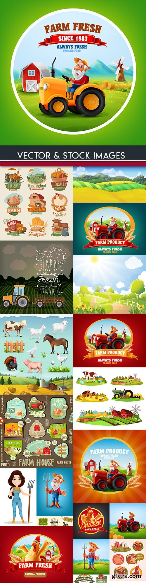 Farm natural products and farmer on tractor collection