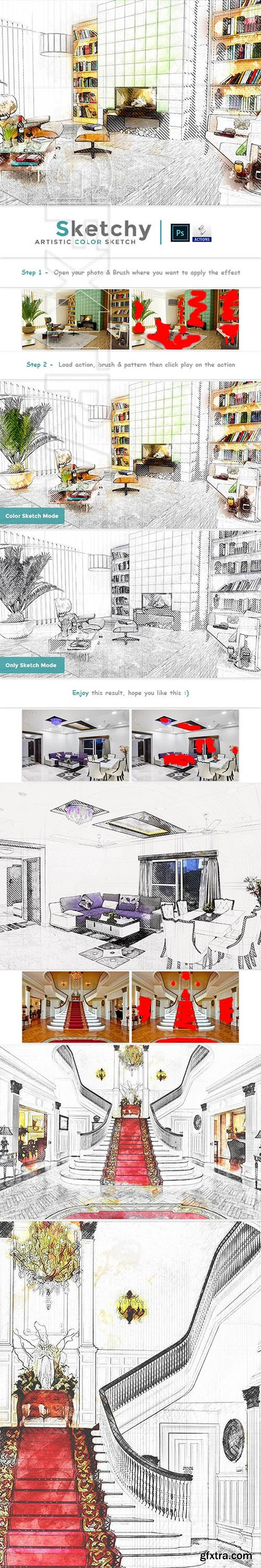 GraphicRiver - Sketchy - Artistic Color Sketch PS Action 24185668