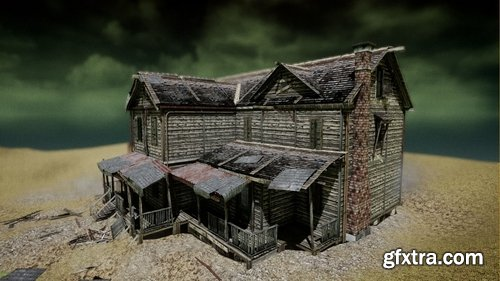 Cgtrader - UE4 Abandoned wooden house modular V01 Basic package Updated 002 Low-poly 3D model