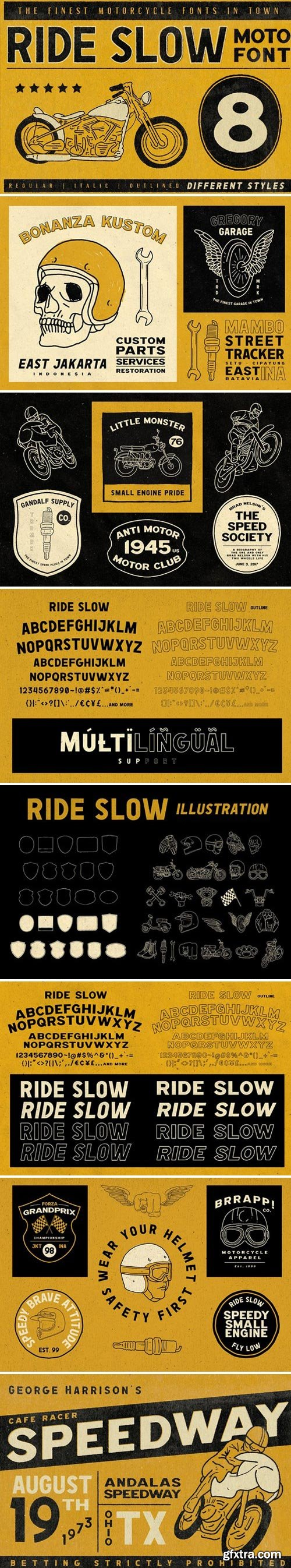 CM - Ride Slow - Motorcycle Font Bundle 2017153