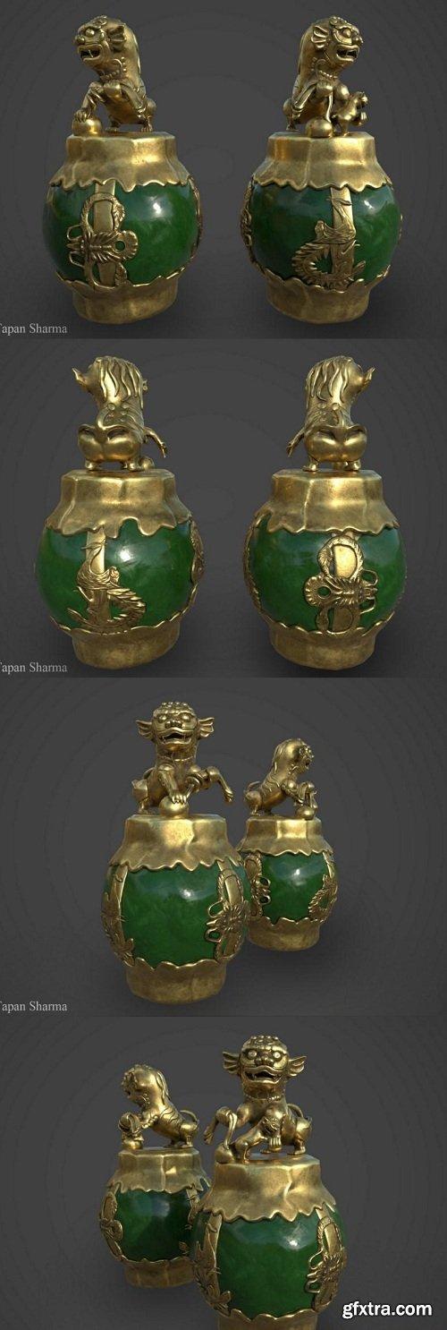 Souvenir Silver Dragon Jade 3D Model