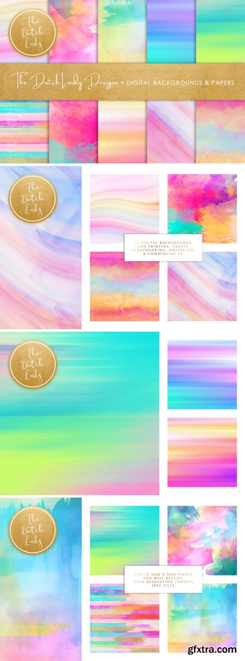 Watercolor Rainbow Stripe & Smear Backgrounds