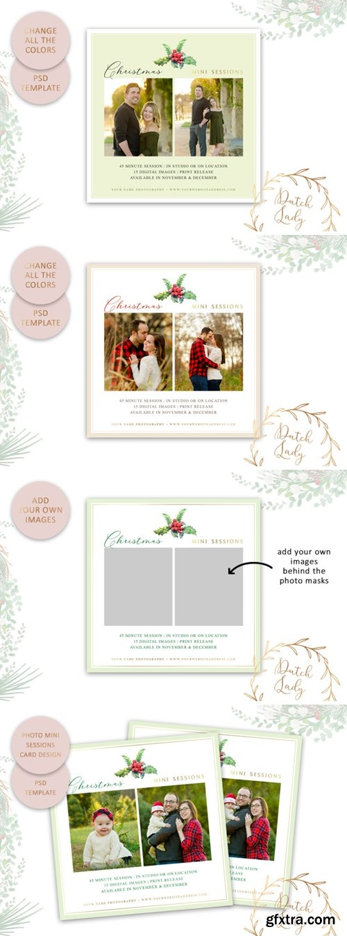 Photography Mini Session Advertising Card – Christmas & Holidays – Adobe Photoshop .PSD Template #49