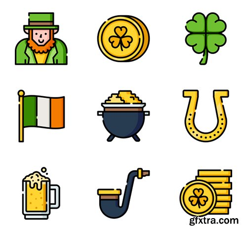 150 St. Patrick's Day Icons (Lineal Color, Flat, Lineal)