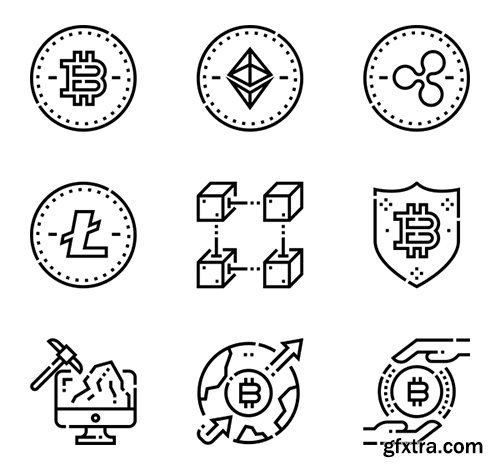 100  Cryptocurrency Icons (Lineal Color, Lineal)