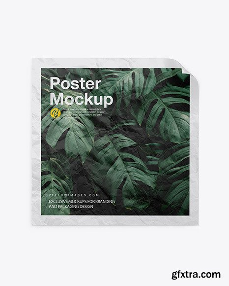 Crumpled Square Poster Mockup 47566