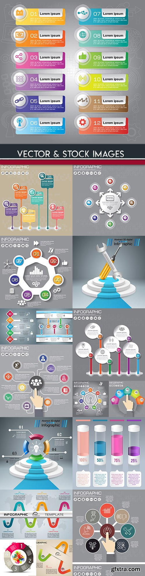 Business infographics options elements collection 80