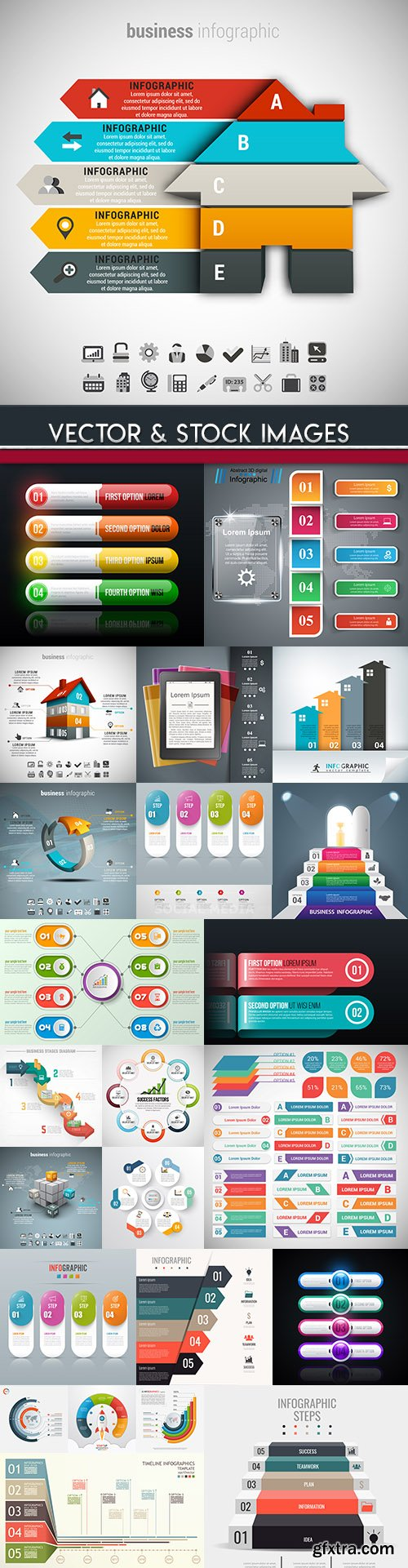 Business infographics options elements collection 81