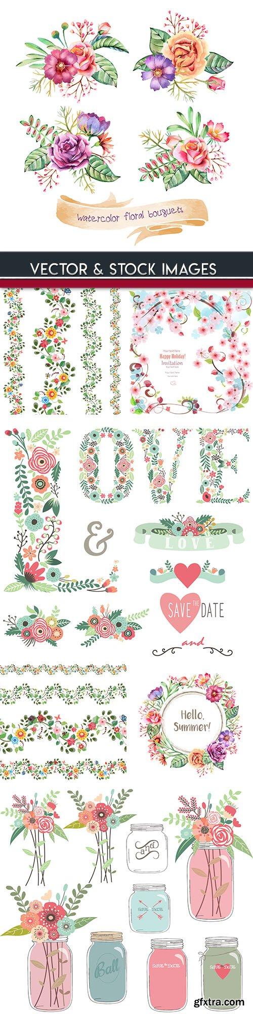 Floral bouquet watercolor decoration vintage design